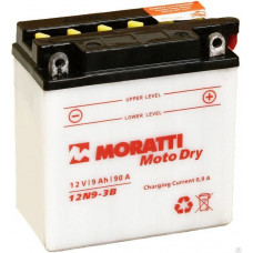 Аккумулятор MORATTI  12В 9 Ач, 80 А (12N9-3B), обратная полярность, сухо-заряженный, без электролита ¹