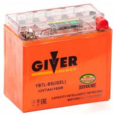 Аккумулятор GIVER ENERGY 12В 7 Ач, 74 А (YB7L-BS) GEL, обратная полярность ²