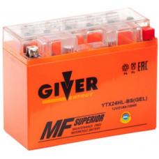 Аккумулятор GIVER ENERGY 12В 21 Ач, 250 А (YTX24HL-BS) GEL, обратная полярность ²