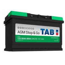 Аккумулятор TAB Stop&Go 80 Ач, 800 А AGM, Start-Stop, обратная полярность ²