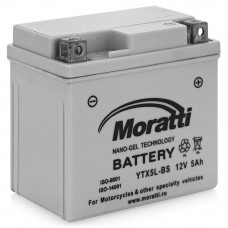 Аккумулятор MORATTI  12В 5 Ач, 30 А (YTX5L-BS), обратная полярность, сухо-заряженный, с электролитом ¹