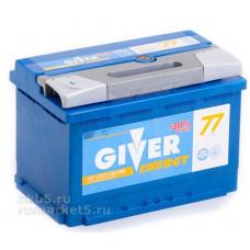 Аккумулятор GIVER ENERGY 77 Ач, 750 А, прямая полярность ²