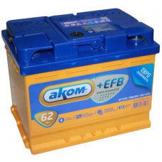 Аккумулятор АКОМ + 62 Ач, 580 А EFB, обратная полярность ⁵