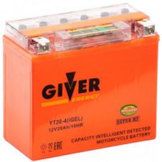 Аккумулятор GIVER ENERGY 12В 20 Ач, 240 А (YT20-4) GEL, прямая полярность ²