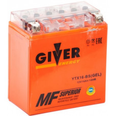 Аккумулятор GIVER ENERGY 12В 14 Ач, 200 А (YTX16-BS) GEL, прямая полярность ²