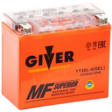 Аккумулятор GIVER ENERGY 12В 20 Ач, 240 А (YT20L-4) GEL, прямая полярность ²
