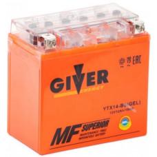 Аккумулятор GIVER ENERGY 12В 14 Ач, 180 А (YTX14-BS) GEL, прямая полярность ²