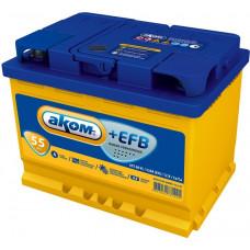 Аккумулятор АКОМ + 55 Ач, 530 А EFB, прямая полярность ⁵